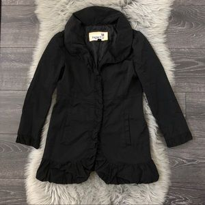 Sugarfly Girls Black ruffled coat L